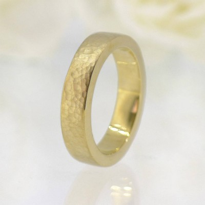 His And Hers Hammered Wedding Ring 18CT Gold Set