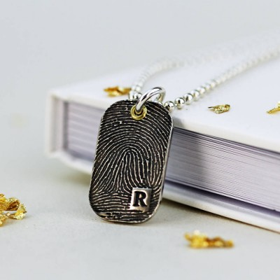 Solid Gold Inked Fingerprint Dog Tag Necklace