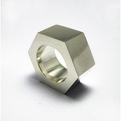 Large Nut Solid White Gold Ring