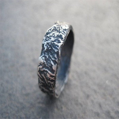 Rocky Outcrop Solid White Gold Ring