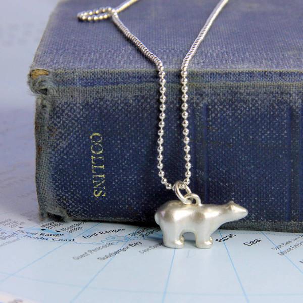 Solid Gold Polar Bear Necklace