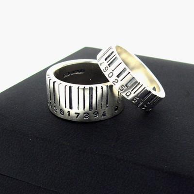 MediumBarcode Solid Gold Ring