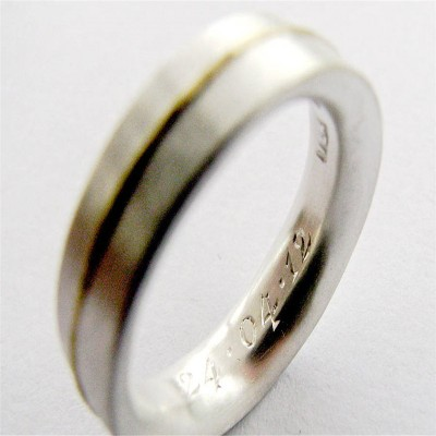 Medium 18CT Ring With 18CT Gold Detail