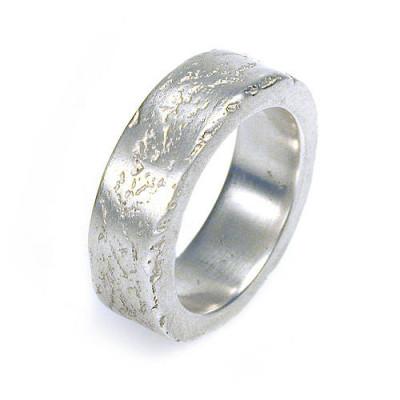 Medium Concrete Solid White Gold Ring