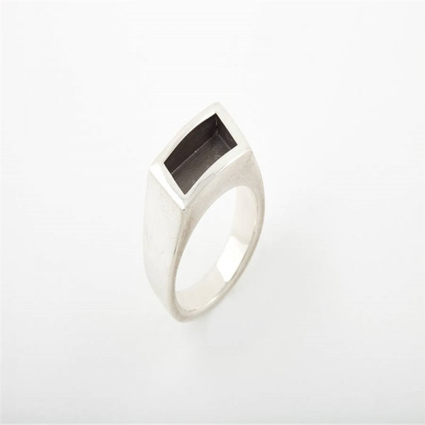 Men Gentlemen Solid Gold Ring Black