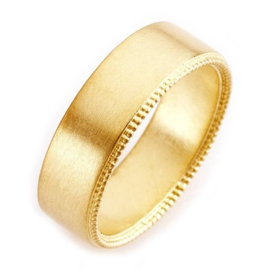 Mens Decorated Wedding Ring In 18CT Gold