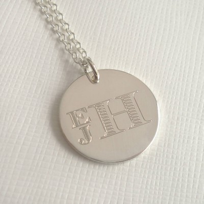 Solid Gold Mens Engraved Monogram Stacked Necklace