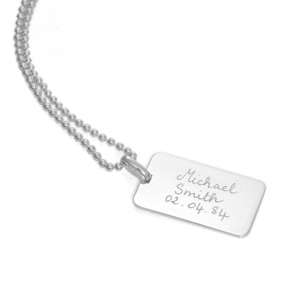 Solid Gold Mens Dog Tag Chain Necklace