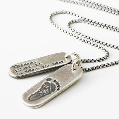 Solid Gold Mens Footprint Tag Necklace