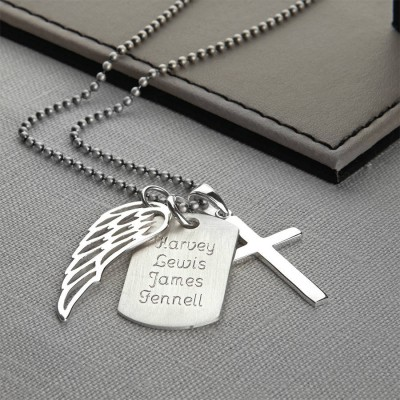 Personalised 18CT White Gold Karma Dog Tag Necklace