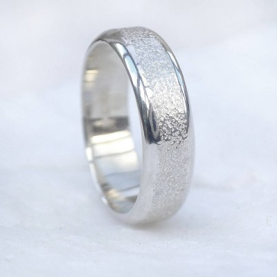Mens Solid White Gold Ring With Concrete Texture