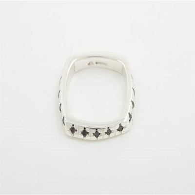 Men Square 18CT Solid Gold Ring With Diamonds