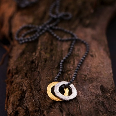 Solid Gold Mens Mixed Metal Eternity Necklace