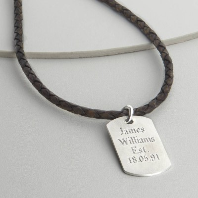 Personalised Polished 18CT Gold Dog Tag Necklace