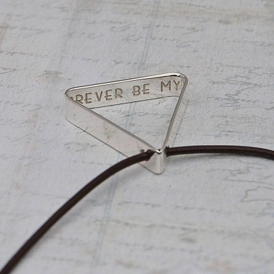 Solid Gold Mens Secret Message Triangle Name Necklace