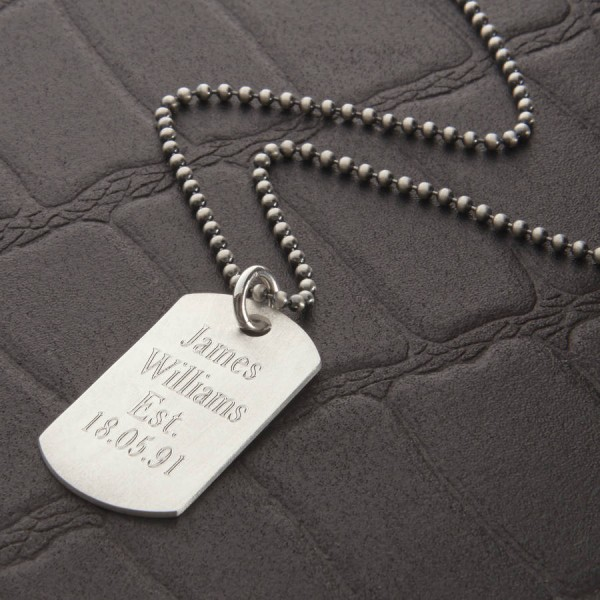Personalised Brushed 18CT Gold Dog Tag Necklace