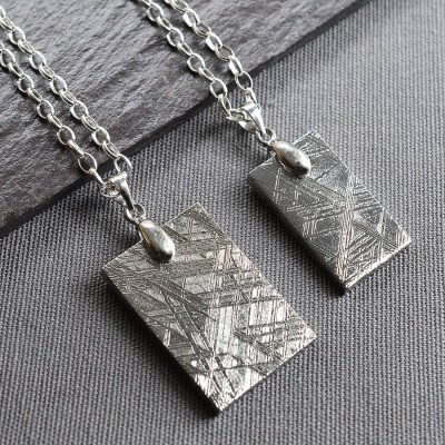 Solid Gold Meteorite And Tag Name Necklace