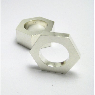 Nut Solid White Gold Ring