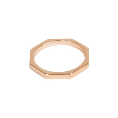 Octagon Bolt Solid Gold Ring