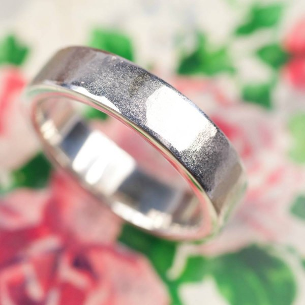 Organic Textured 18CT Solid White Gold Ring