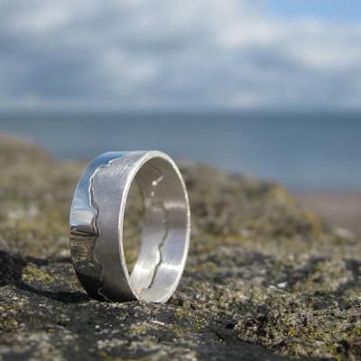 Mens Coastline Map Solid Gold Ring