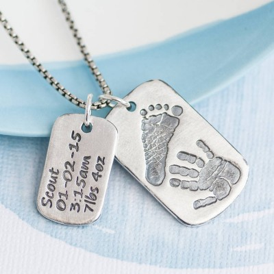 Solid Gold Dog Tag With Baby Prints And Birth Info Necklace - Two Pendants