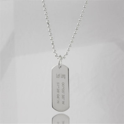 Solid White Gold Coordinates Dog Tag Necklace