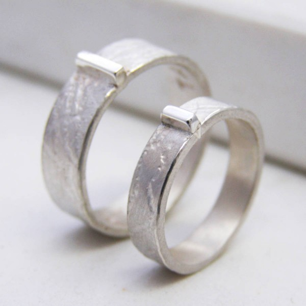 Contemporary His And Hers Solid Gold Rings