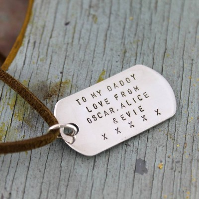 Solid Gold Dog Tag Necklace