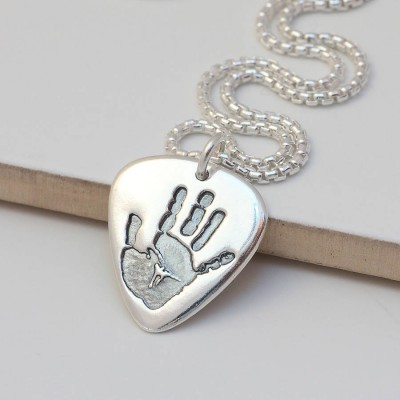 Solid Gold Mens Hand Or Footprint Necklace