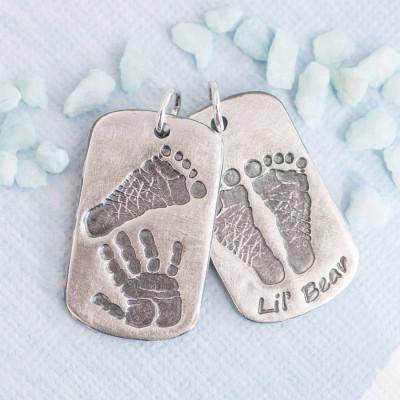 Solid Gold Handprint Footprint Dog Tag