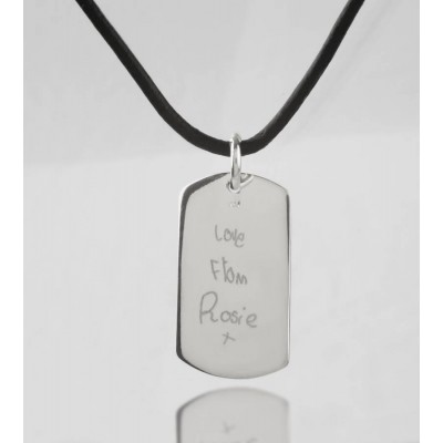 Solid Gold Message Dog Tag Necklace