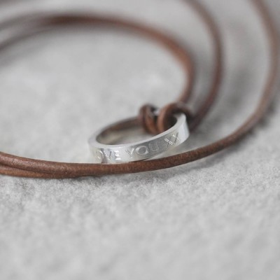 Leather Solid White Gold Ring Necklace