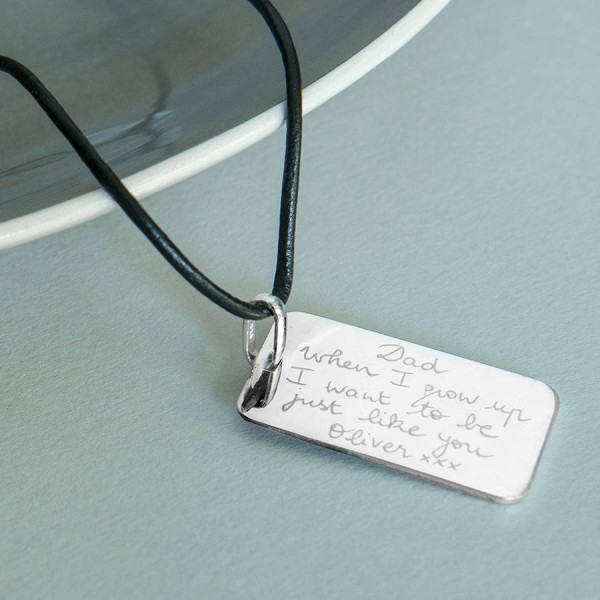 Solid Gold Mens Dog Tag Necklace
