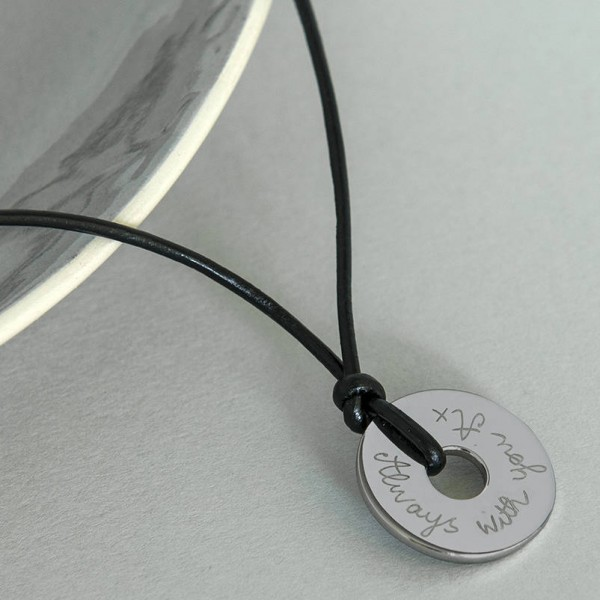 Personalised Mens 18CT White Gold Open Disc Necklace