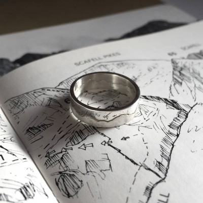 Mountain Landscape Skyline Solid Gold Ring