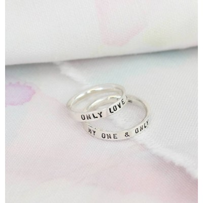 Script Solid Gold Ring For Couples
