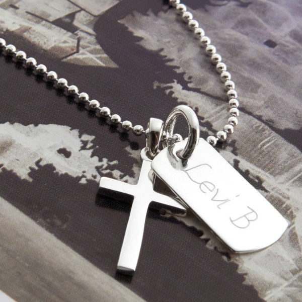 Personalised 18CT Gold Cross And Dogtag Necklace
