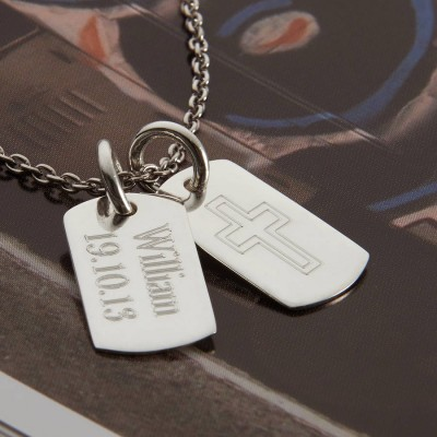 Personalised 18CT White Gold Double Dog Tag Necklace