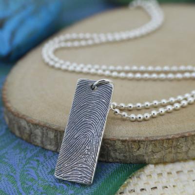 Solid Gold Ink Fingerprint Name Necklace