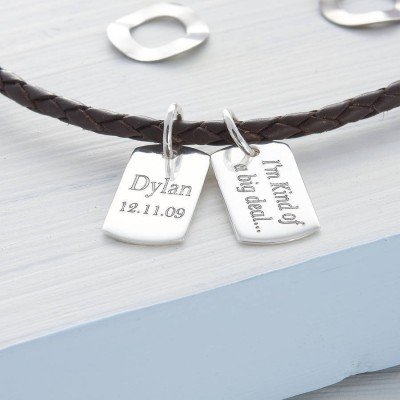 Solid Gold Mini Dog Tag Leather Name Necklace