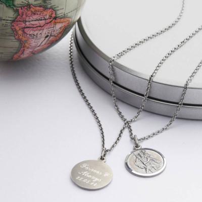 Solid Gold St Christpher Medal Name Necklace