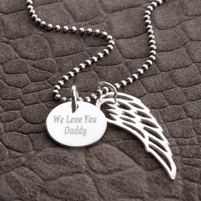 Personalised 18CT White Gold Wing And Disc Pendant