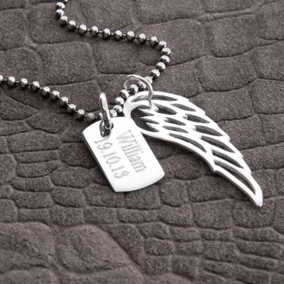 Personalised 18CT White Gold Wing And Dogtag Pendant