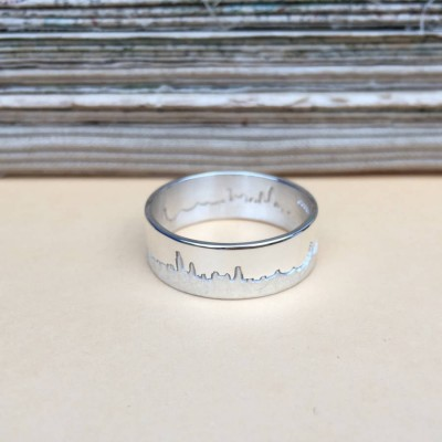 City Skyline Solid White Gold Ring