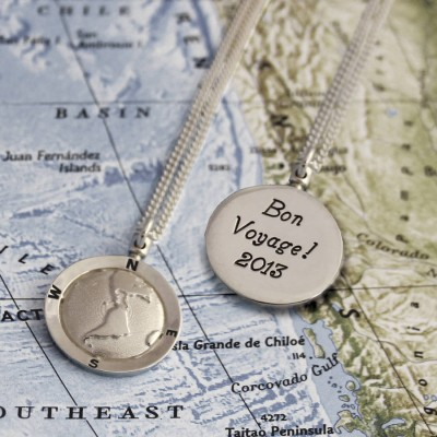 Solid Gold Globe Travel Necklace