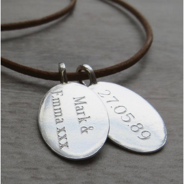 Solid Gold Tag amp Leather Cord Name Necklace