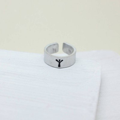 Viking Rune Initial Talisman Solid Gold Ring