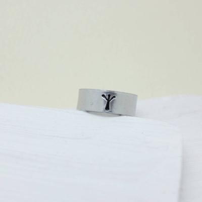 Viking Rune Initial Talisman Solid Gold Ring