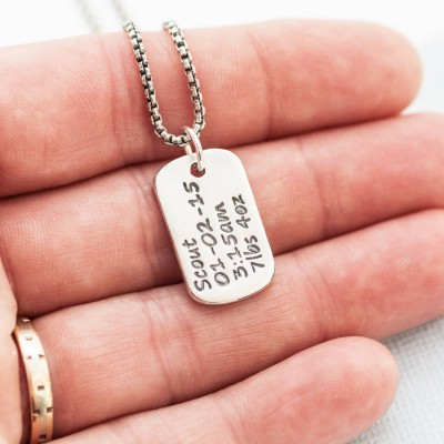 Solid Gold Dog Tag Necklace With Baby Birth Info